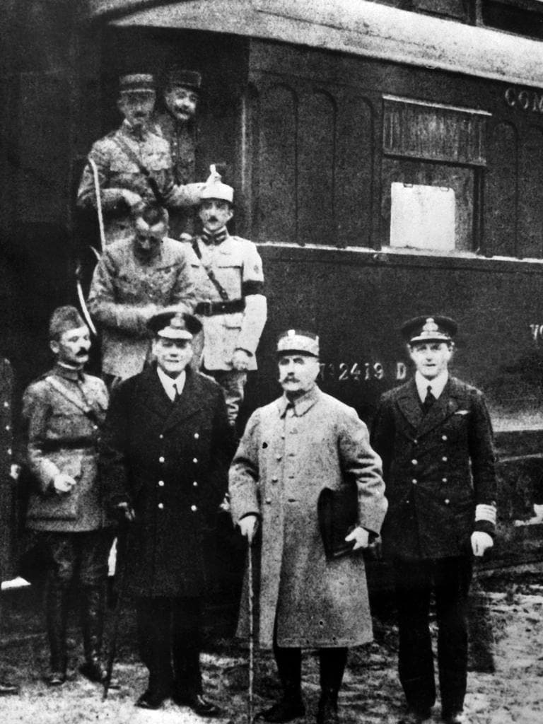 A picture taken on November 11, 1918 shows signatories of the Armistice treaty.