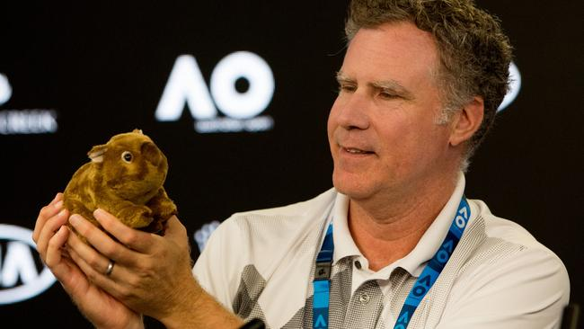 """Will Ferrell said this toy wombat looked """"delicious"""" after poking fun at Aussies when interviewing Roger Federer on Tuesday night."""