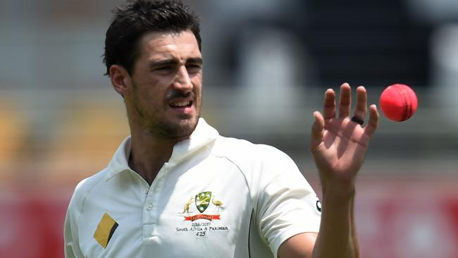 Mitchell Starc enjoys bowling with the pink ball.