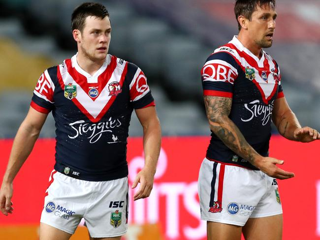 Luke Keary and Mitchell Pearce of the Roosters.