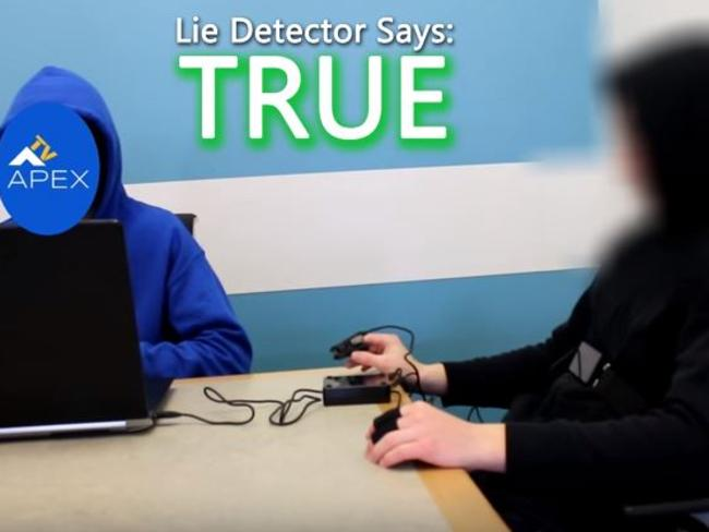 James Oliver, who claims to be a time traveller from the year 6491, has passed a lie-detector test with flying colours. Picture: Apex TV/YouTube