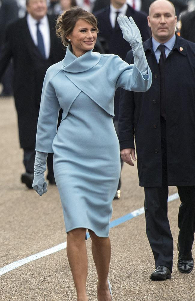 US First Lady Melania Trump walk in the inaugural parade after President Trump was sworn-in as the 45th President in Washington, DC in 2017. Picture: Supplied