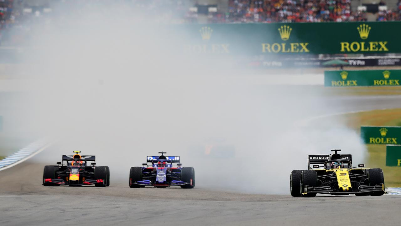 Ricciardo's engine blows up in Germany, one of the Aussie's four DNFs.