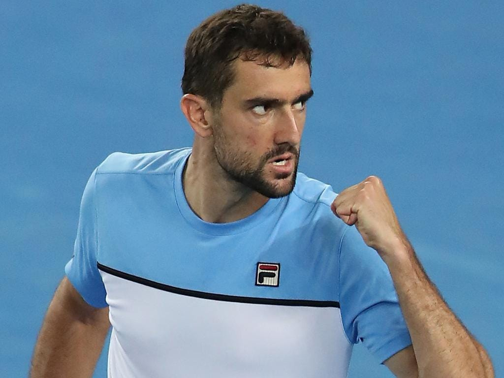 Marin Cilic of Croatia reacts during the match against Fernando Verdasco of Spain during day five of the Australian Open tennis tournament in Melbourne, Friday, January 18, 2019. (AAP Image/David Crosling) NO ARCHIVING, EDITORIAL USE ONLY