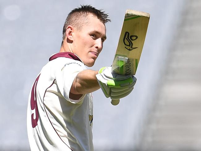 Marnus Labuschagne salutes after reaching his ton.