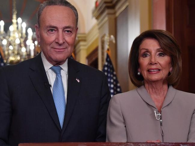 House Speaker Nancy Pelosi and Senate Democratic leader Chuck Schumer. Picture: AFP