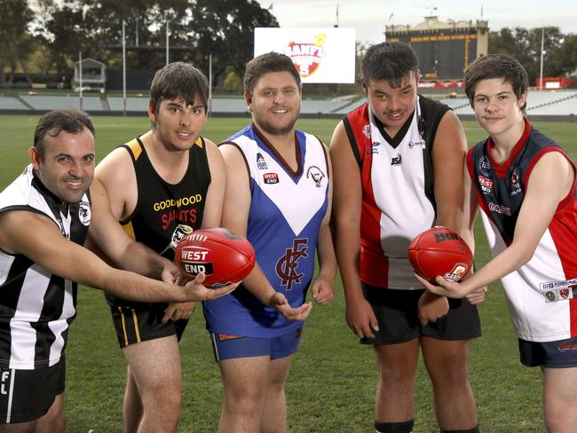 SANFL will commence its first inclusive league in Adelaide next month in a move to give more people with an intellectual disability the opportunity to play footy. Players will include Goce Kuzmanov (Salisbury Magpies), James Swanbury (Goodwood Saints), Alex Linn (Kenilworth Kookaburras), Joshua Couch (Christies Beach Saints) and Drae Bennett (Eastern Park Demons). PHOTO: Dean Martin