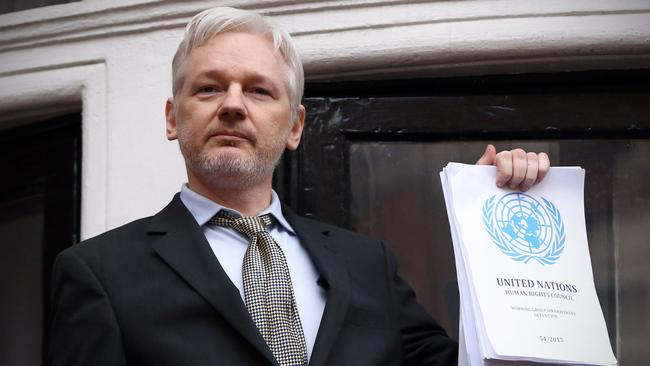 Julian Assange speaks from the balcony of the Ecuadorean embassy in 2016.