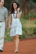 <p>Catherine, Duchess of Cambridge wears Hobbs as she walks down Kuniya Walk at the base of Uluru in Ayers Rock, Australia. Picture: Getty</p>