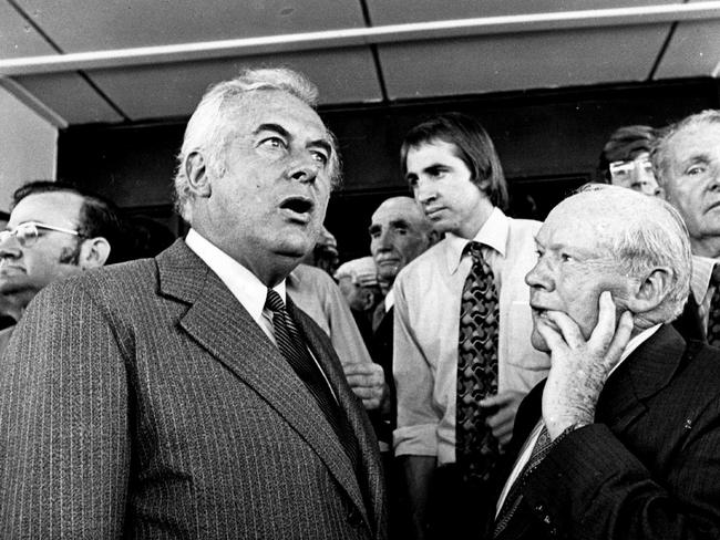 Defining moment ... Gough Whitlam on the steps of Parliament House after his sacking on November 11, 1975.