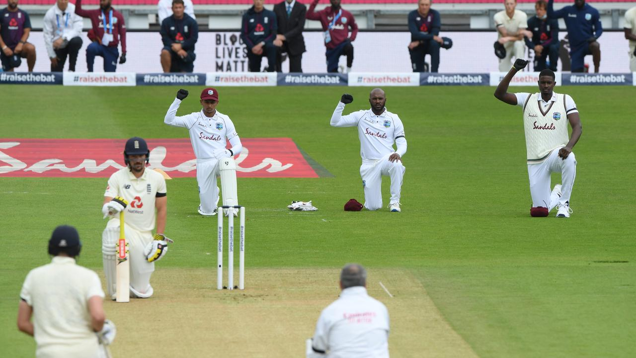 England and West Indies took a knee. (Photo by Stu Forster/Getty Images for ECB)