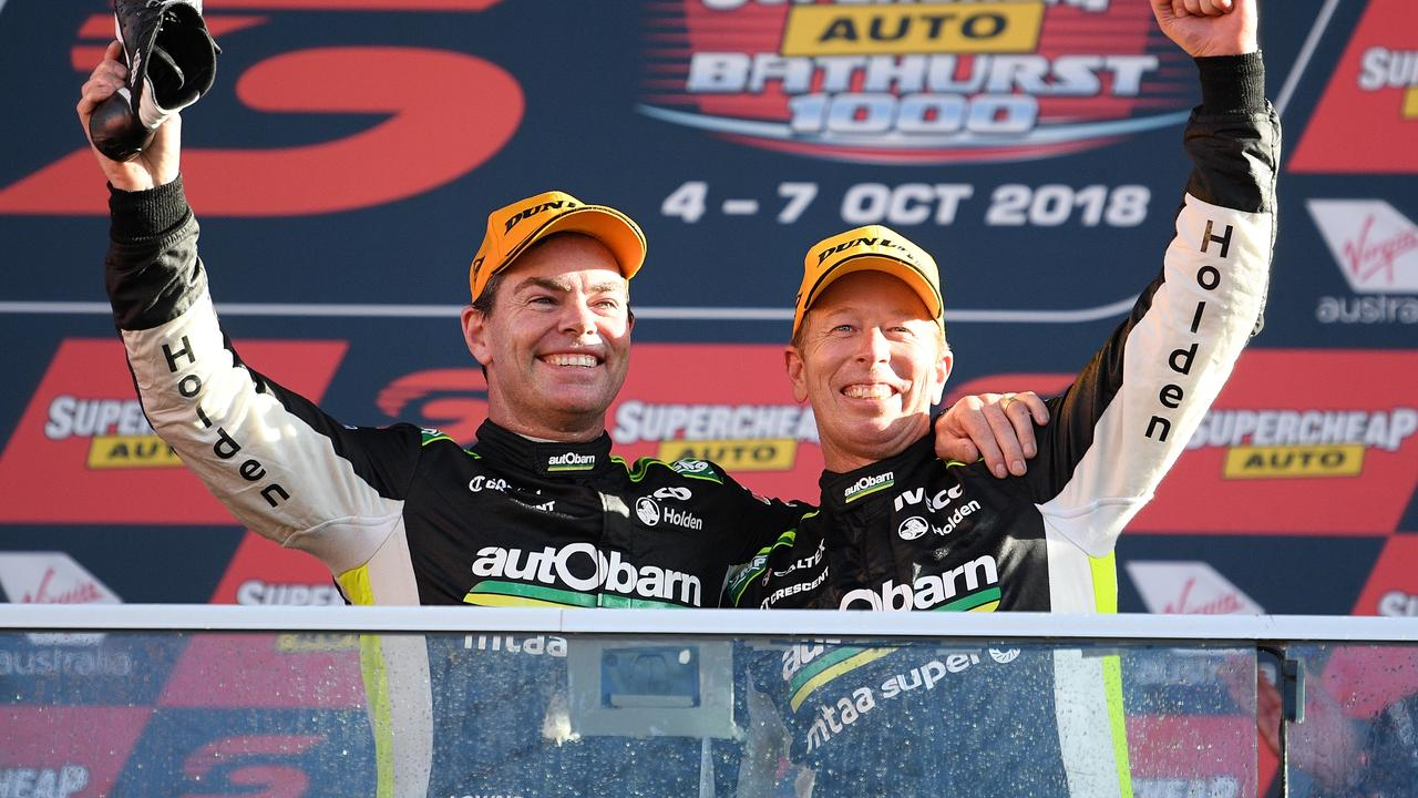 Lowndes and Richards celebrate their 2018 Bathurst win.
