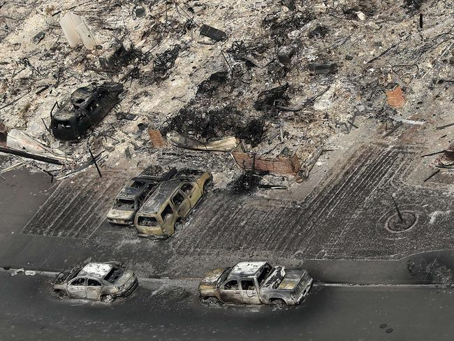 An aerial view of homes that were destroyed by the Tubbs Fire on October 11, 2017 in Santa Rosa. Picture: Justin Sullivan/Getty