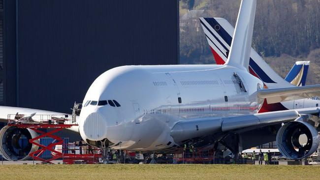 An A380 Airbus superjumbo sits on the tarmac at Tarbes where it is dismantled at the site of French recycling and storage aerospace company Tarmac Aerosave. Picture: Reuters/Regis Duvignau