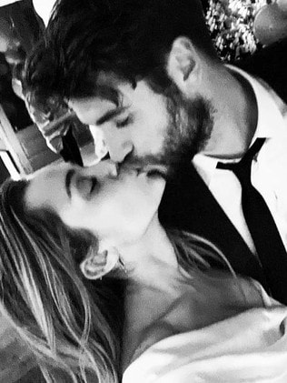 Their wedding kiss. Picture: Instagram