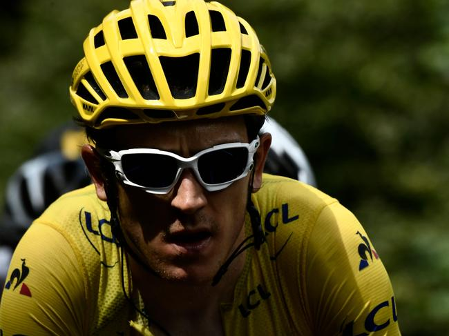 Great Britain's Geraint Thomas, wearing the overall leader's yellow jersey, during the 19th stage of the 105th edition of the Tour de France. Picture: AFP
