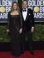 Rita Wilson, left, and Tom Hanks arrive at the 77th annual Golden Globe Awards at the Beverly Hilton Hotel on Sunday, Jan. 5, 2020, in Beverly Hills, Calif. (Photo by Jordan Strauss/Invision/AP)