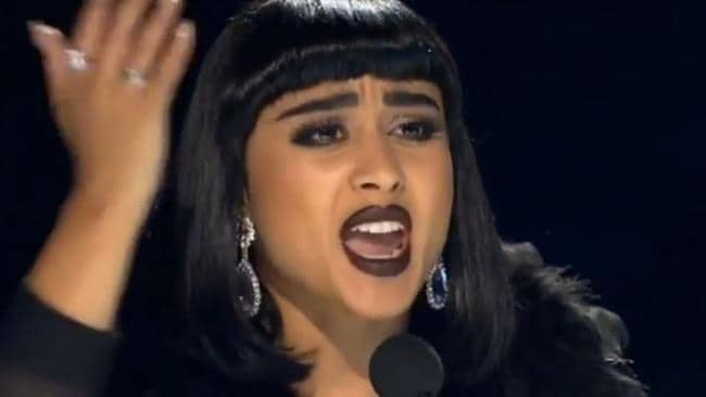 Natalia Kills launched into a lengthy tirade against the contestant for having a similar suit and haircut to her husband. Picture: YouTube