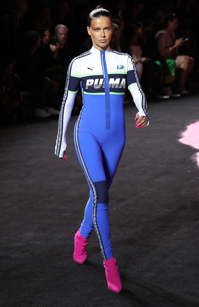Top model Adriana Lima in a Fenty Puma onesie.
