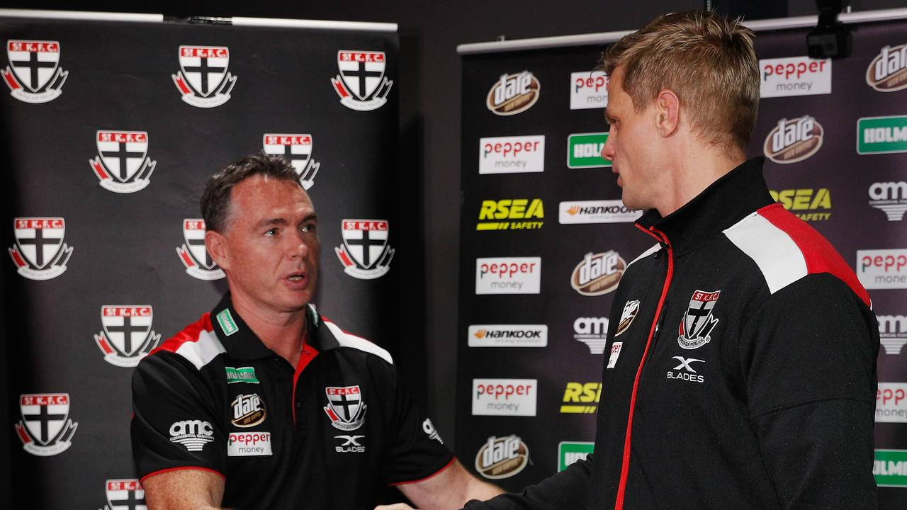Nick Riewoldt with Alan Richardson. (Photo by Michael Dodge/Getty Images)