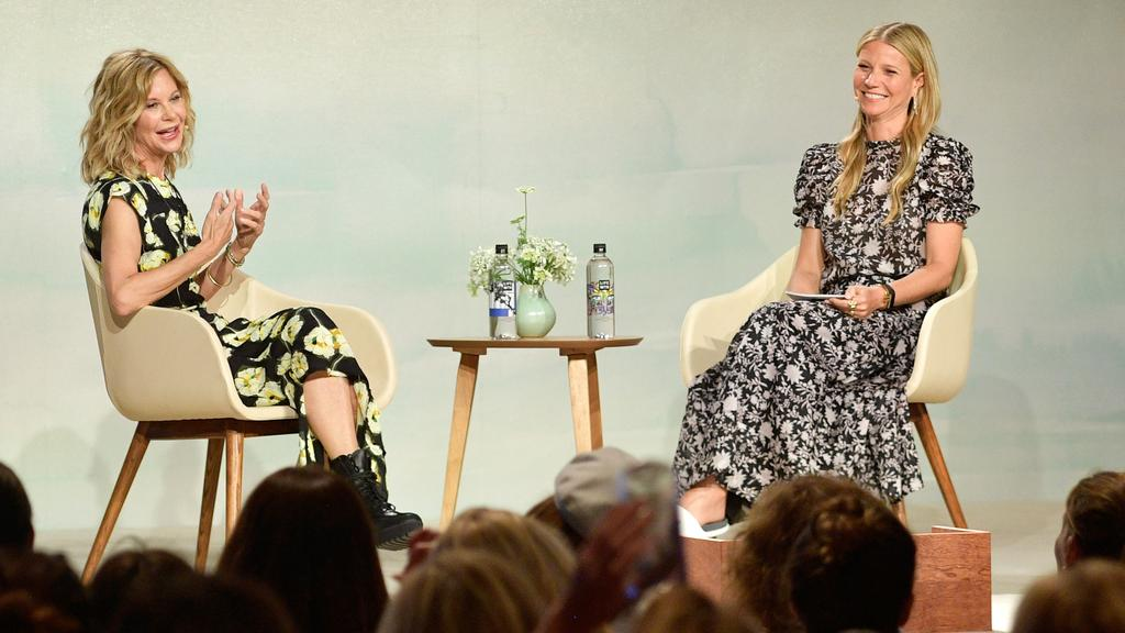 Meg Ryan and Gwyneth Paltrow speak onstage at the In goop Health Summit. Picture: Getty Images.