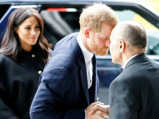 Harry greets the NZ High Commissioner Jerry Mateparae with a traditional hongi, performed by pressing noses together. Image: Reuters