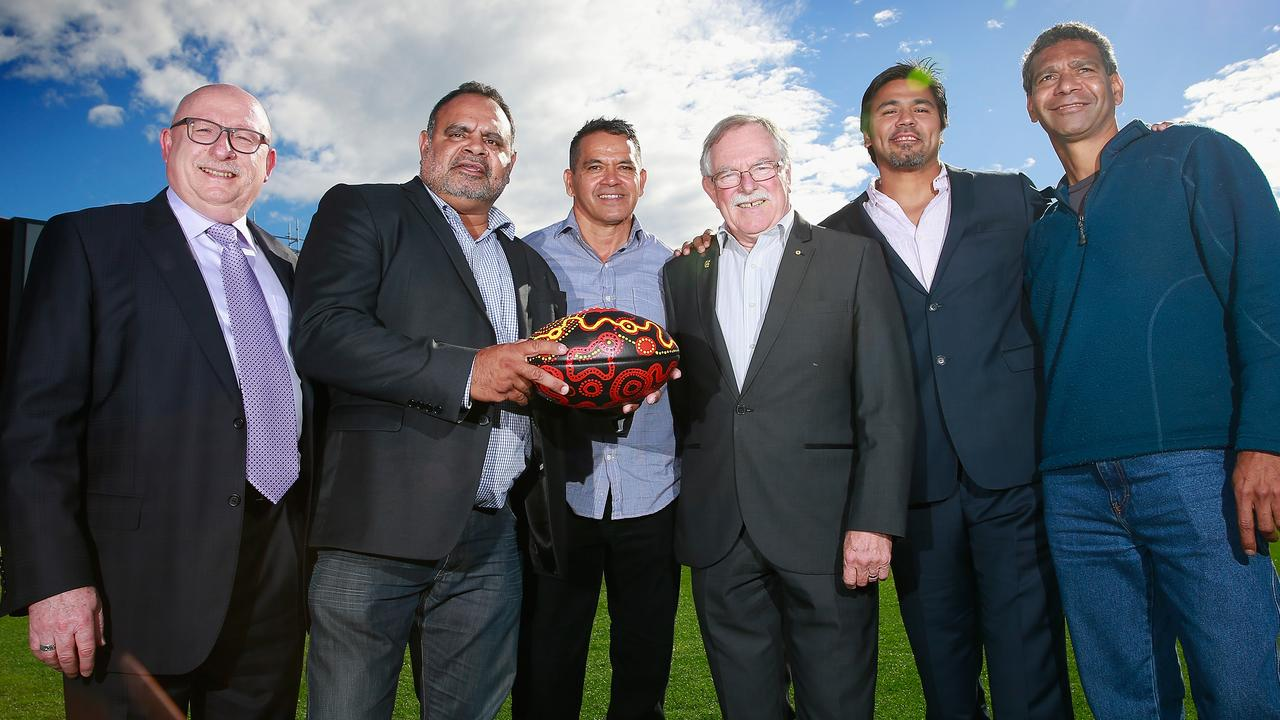 Tony Peek, Michael Long, Michael McLean, Ross Oakley, Che Cockatoo-Collins and Gilbert McAdam after an Essendon indigenous Discussion Panel.