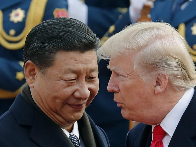 In happier times ... Chinese President Xi Jinping and US President Donald Trump in Beijing in 2017. Picture: AP