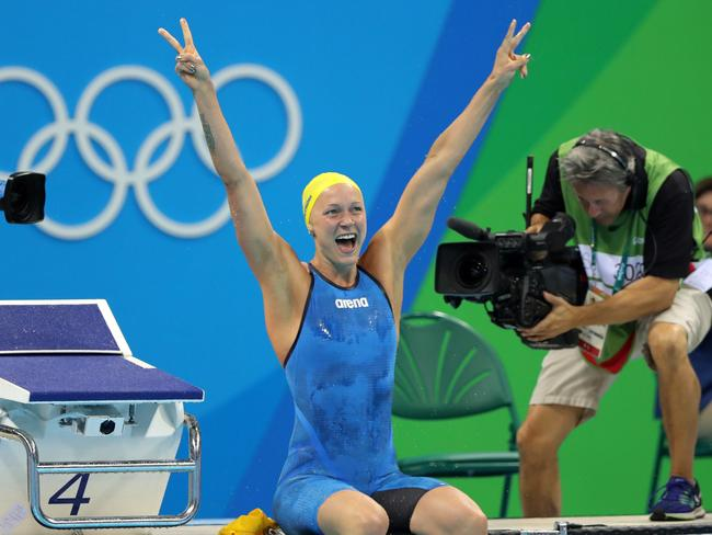 Sweden's Sarah Sjostrom celebrates after winning a gold medal in the women's 100m butterfly.
