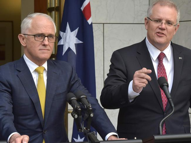 Scott Morrison (R) speaking beside then-Prime Minister Malcolm Turnbull. Picture: AFP