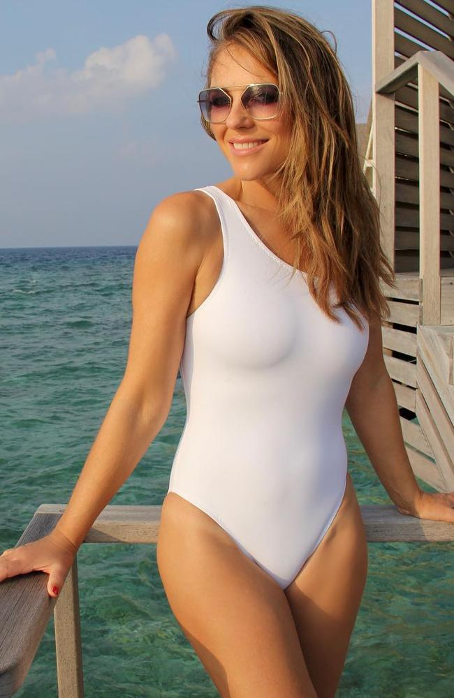 7725ce853ae Liz Hurley posts Instagram photo flaunting white Athena swimsuit ...