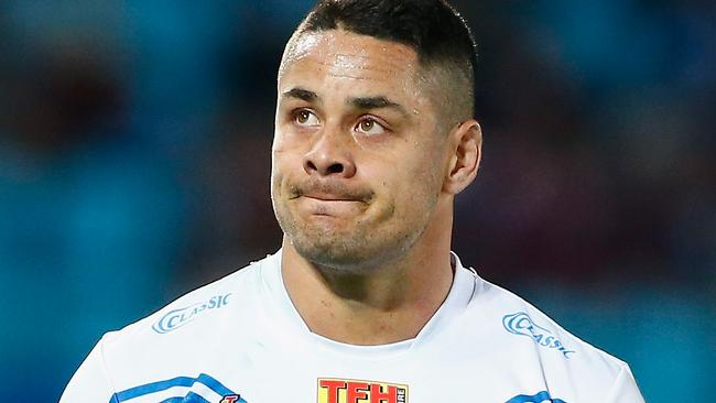 Jarryd Hayne watches on during the Titans' loss to the Broncos.