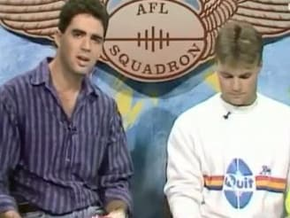 Garry Lyon in his early days of presenting on the AFL Squadron.