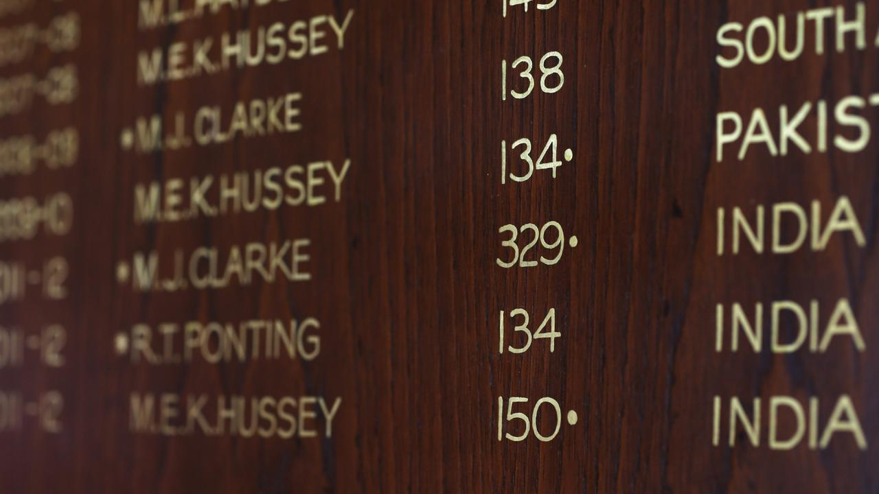 Michael Clarke's 329 not out on the honour board. Pic. Phil Hillyard