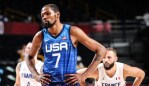 SAITAMA, JAPAN - JULY 25: Kevin Durant (7) of USA in action during the Group A basketball match between USA and France within the Tokyo 2020 Olympic Games at the Saitama Super Arena in Saitama, Japan on July 25, 2021. (Photo by Elif Ozturk Ozgoncu/Anadolu Agency via Getty Images)