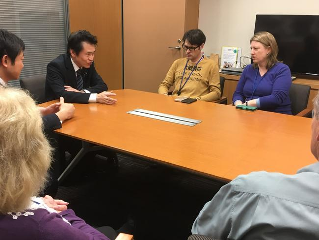McIntyre and his supporters meet with House of Representatives member and joint custody advocate Kushida-san after his sentence (second from left). Picture: Twitter