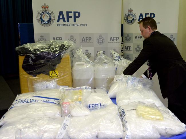 The Australian Federal Police look at the latest seizures of approx. 50 Kilograms of the drug ice in Sydney recently.