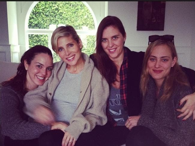 Marta Milans (left) with Else Pataky, who is married to Chris Hemsworth, Italian actress Gisella Marengo, and French actress, Nora Arnezeder. Picture: Instagram/Gisella Marengo