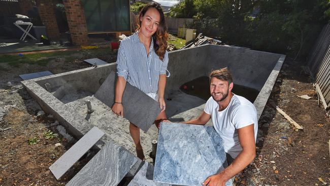 Jarrad Waite and his wife Jackie installed a pool at the Strathmore property. Picture: Tony Gough