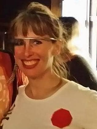 Sarah Slocum looks pretty happy in her Google Glass. Photo: Facebook.
