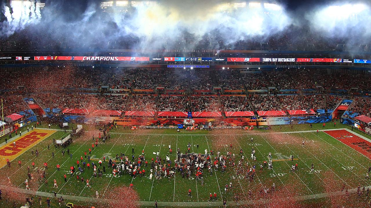 Confetti falls after the Tampa Bay Buccaneers defeated the Kansas City Chiefs in Super Bowl LV at Raymond James Stadium.