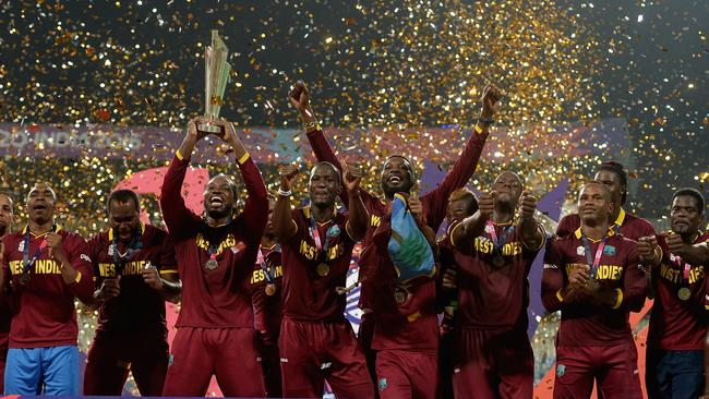 West Indies celebrate their victory in the 2016 ICC World T20 final. Picture: Gareth Copley/Getty Images.