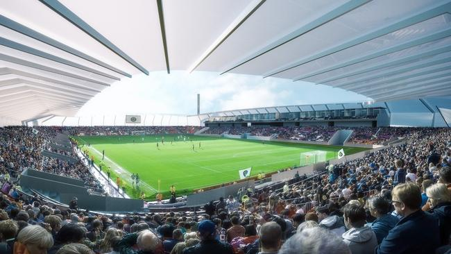 Artist's impression of the proposed Dandenong Stadium for Team 11's southeast Melbourne A-League bid.