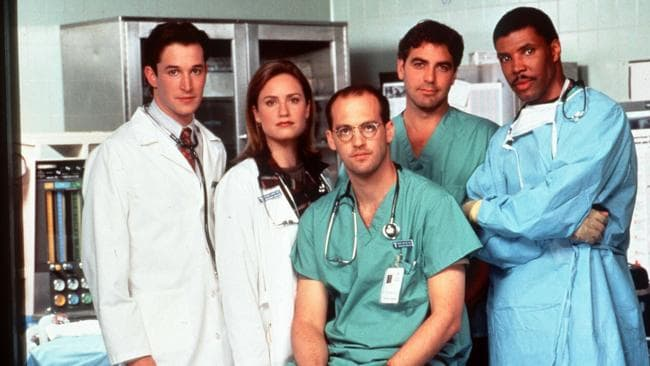 L-R Noah Wyle with Sherry Stringfield, Anthony Edwards, George Clooney and Eriq La Salle on the set of ER in 1995.
