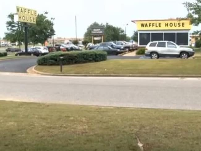 The scene ... The Waffle House in Prattville, Alabama. Picture: WSFA 12