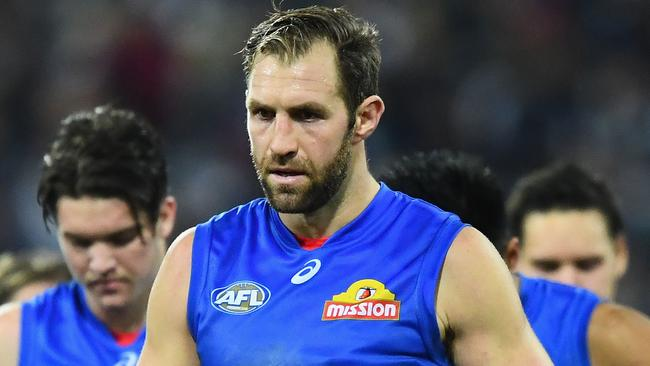 Travis Cloke walks off the ground after the Western Bulldogs' Round 9 loss to Geelong. (Photo by Quinn Rooney/Getty Images)