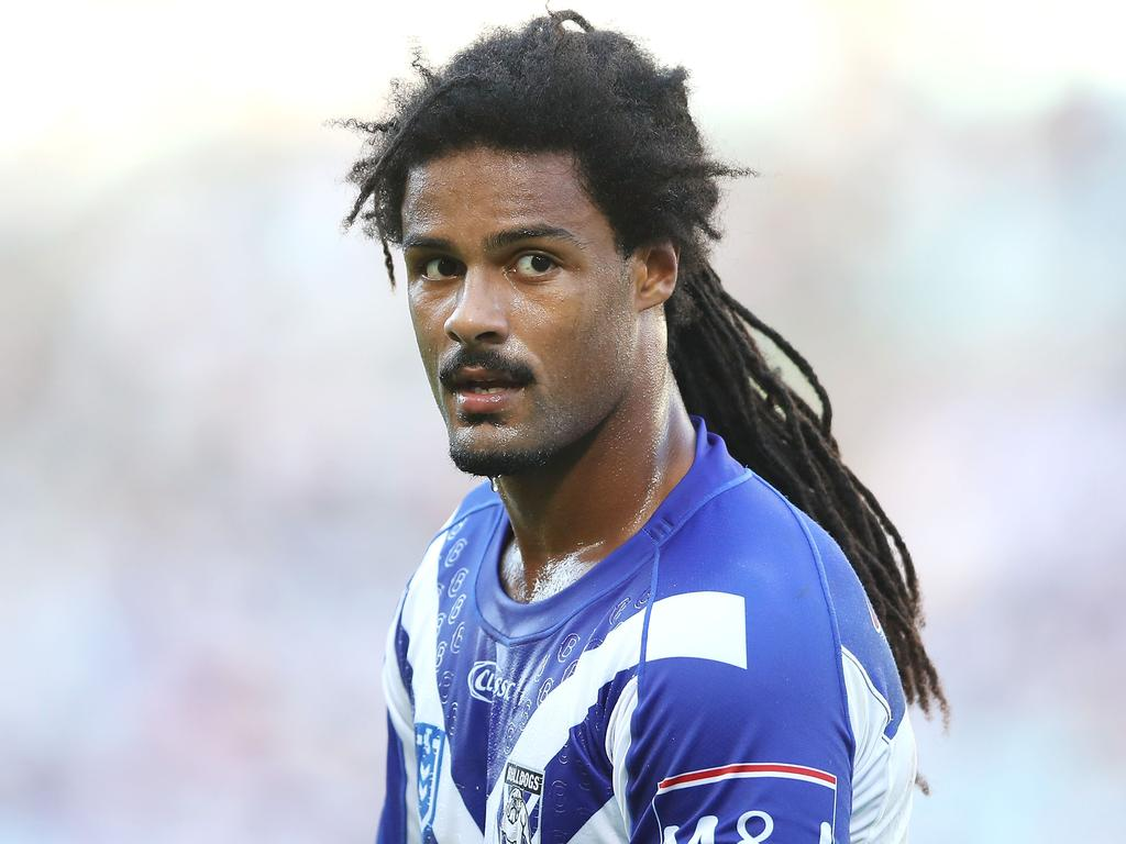 SYDNEY, AUSTRALIA - APRIL 19: Jayden Okunbor of the Bulldogs looks on during the round 6 NRL match between the Canterbury-Bankstown Bulldogs and the South Sydney Rabbitohs at ANZ Stadium on April 19, 2019 in Sydney, Australia. (Photo by Mark Kolbe/Getty Images)
