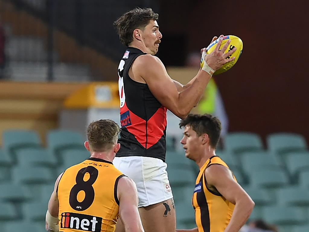 Joe Daniher was on fire against the Hawks. Picture: Mark Brake