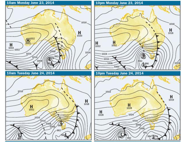 The official Bureau of Meteorology charts for today and tomorrow. if you can't read a weather map, the black lines with 'shark fins' bring cold weather from the Southern Ocean. This means snow. Hooray.
