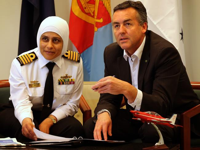 Australian Navy Captain Mona Shindy and Nationals Member for Gippsland Darren Chester.